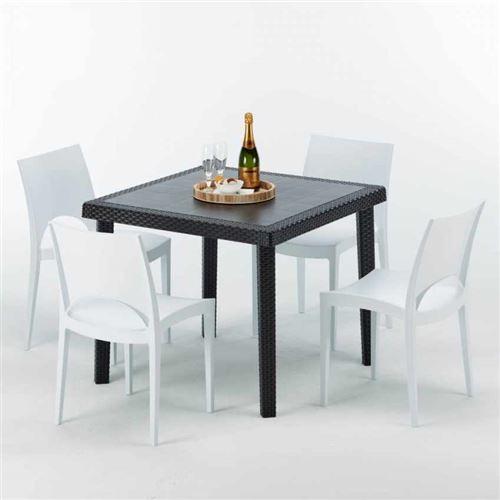 Table Carrée Noire 90x90cm Avec 4 Chaises Colorées Grand Soleil Set Extérieur Bar Café Paris Passion, Couleur: Blanc