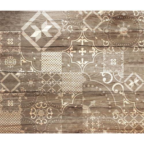 Crédence adhésive en alu imitation Bois - L. 70 x l. 40 cm - Marron
