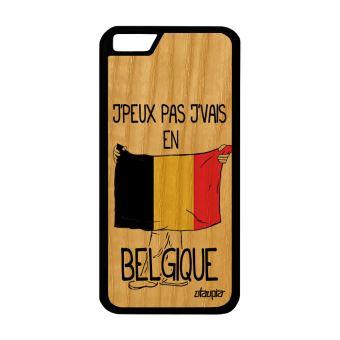 Coque j peux pas j vais en belgique iPhone 6 6S bois silicone telephone de Apple