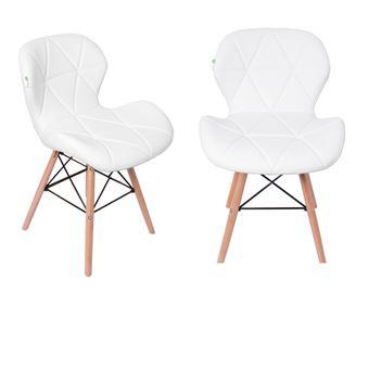 Lot de 2 Chaises Design en Simili Cuir Blanches Style