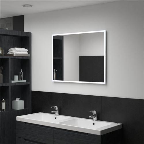 Miroir mural à LED pour salle de bains 80 x 60 cm