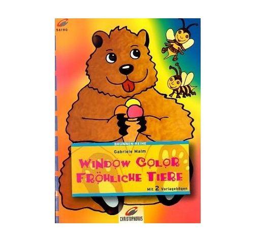 Livre motif window color abeilles et ours avec une glace - modele peinture fenetre (langue allemand)