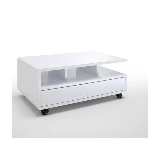 Table basse CHARTRES sur roulettes laquée blanc brillant