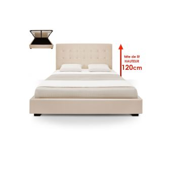 lit capitonn coffre 180x200 sommier cuir pu beige somy achat prix fnac. Black Bedroom Furniture Sets. Home Design Ideas