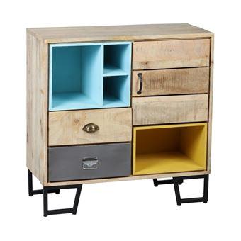 meuble dentre 1 porte 2 tiroirs boismtal supply l 90 x l 39 x h 90 achat prix fnac