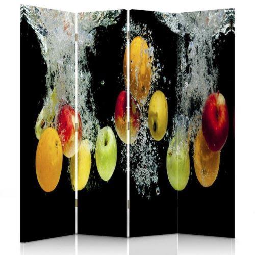 Feeby Paravent 4 parties 2 faces Diviseur de pièce déco intérieur, Pommes Eau 145x180 cm