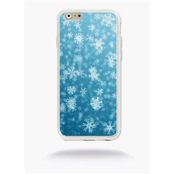 Coque flocons de neige compatible apple iphone 6s silicone blanc mat