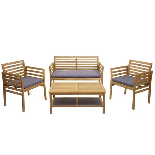Ensemble de jardin HWC-E99b, groupe de sièges pour balcon, bois d'acacia massif ~ coussins gris foncé