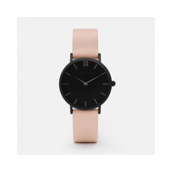 montre femme cadran noir bracelet rose