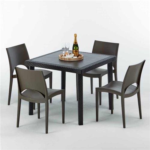 Table Carrée Noire 90x90cm Avec 4 Chaises Colorées Grand Soleil Set Extérieur Bar Café PARIS PASSION, Couleur: Marron