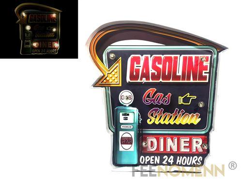 plaque métal lumineuse led - station service gasoline 24h (37x35cm)
