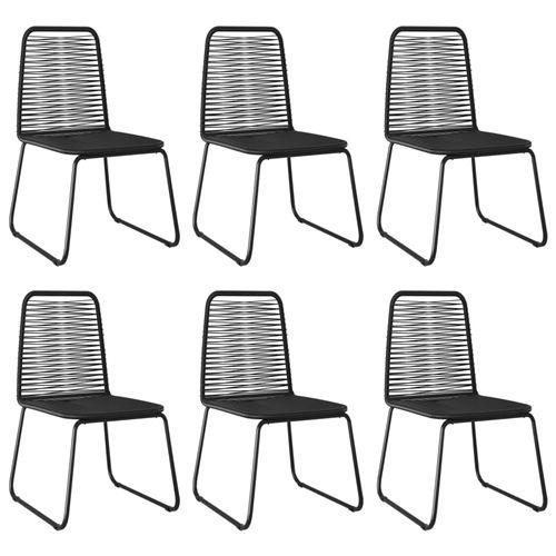 Chaises d'extérieur 6 pcs Résine tressée Noir