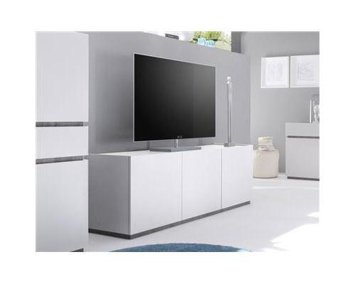 Buffet bas gris ou blanc 3 portes STANISLAS-L 184 x P 51 x P 60 cm- Blanc
