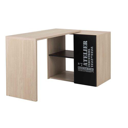 Bureau plateau mobile chêne et noir BU5009-1