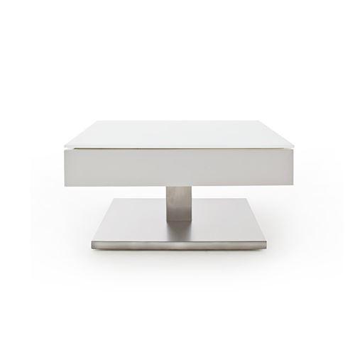 Table basse MARSEILLE laquée blanc mat plateau en verre trempé blanc mat