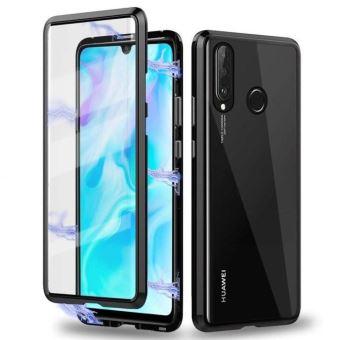 Coque Huawei P30 Lite,2 en 1 Coque d'adsorption Magnétique avec Protection en Verre Trempé - Métal Coque,Noir