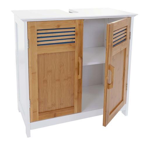 Meuble sous-lavabo HWC-A85, commode / armoire salle de bains, 60x62x31cm blanc