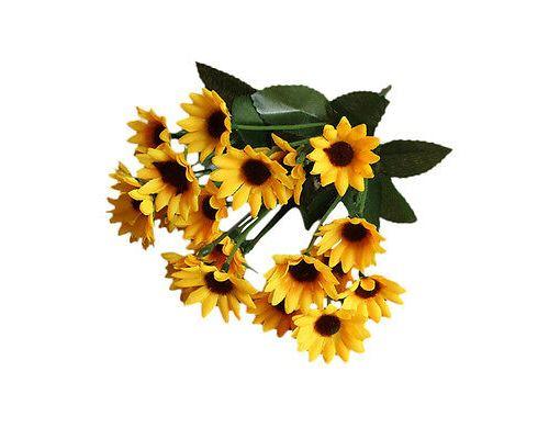 Top 14 Head Fake Sunflower Artificial Silk Flower Bunch Wedding Floral Decor