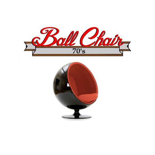 Fauteuil boule, Ball chair coque noir / intérieur feutrine orange. Design 70's.
