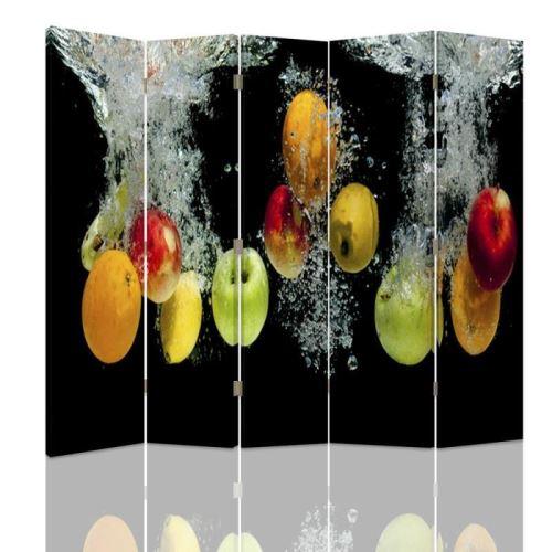 Feeby Paravent 5 panneaux deux faces Diviseur de pièce déco intérieur, Pommes Eau 180x150 cm