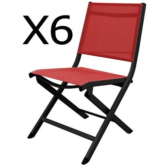 De Pliantes Textilène Lot En Aluminium 6 Chaises Jardin Et rQCedxBoW