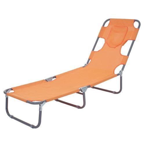 Transat chaise longue de jardin pliable en tissu orange MDJ04123