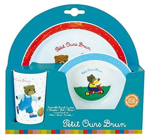 Petit ours brun ensemble lunch assiette - verre - bol fun house 5444