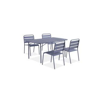 Ensemble Repas De Jardin - Table De Jardin 150 Cm En Metal Et 4 Chaises -  Gris Anthracite