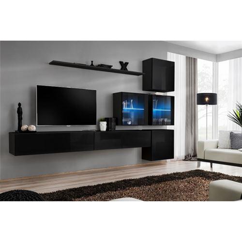 Ensemble meuble salon mural SWITCH XIX design, coloris noir brillant.