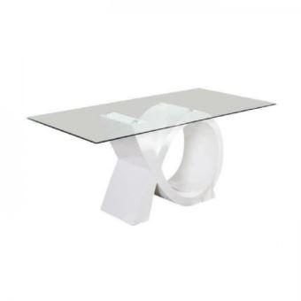 Sharon Table A Manger 8 Personnes Contemporain Laque Blanc Brillant Plateau En Verre Trempe L 180 X L 90 Cm