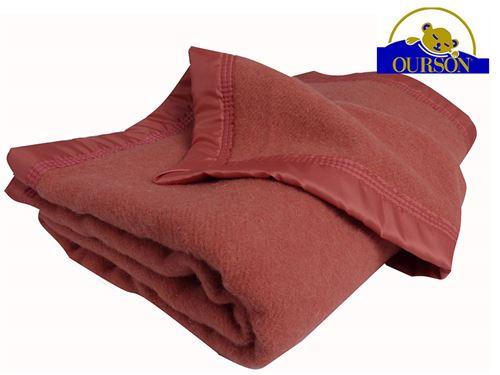 Couverture pure laine woolmark ourson 350 gr rose 180x220
