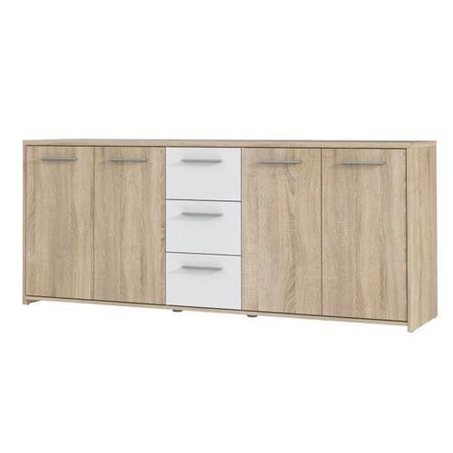 Finlandek Buffet Bas Pilvi Contemporain Decor Chene Sonoma Et Blanc Mat - L 179 Cm