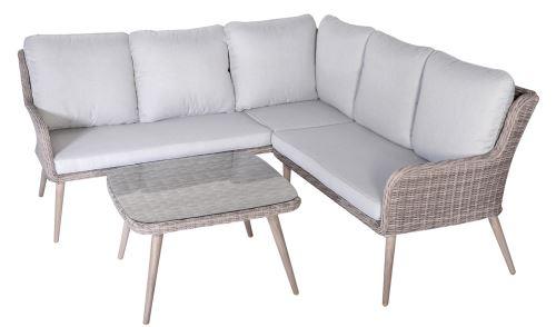 Salon de jardin angle de 3 pièces en résine tressé / Aluminium -PEGANE-