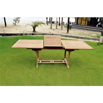 Table Kajang 10 : Table De Jardin Rectangle Extensible En Teck Brut 10  Personnes
