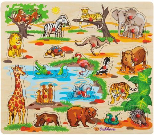 Puzzle en bois animaux sauvages - 21 pieces