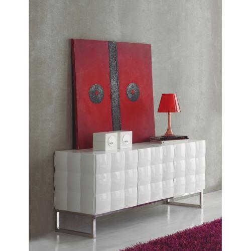 Buffet 3 portes en bois relief 3D blanc laqué SYLVAIN