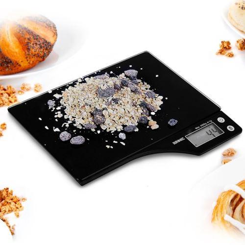 Duronic KS350 Balance de Cuisine numérique en verre noir - 5 kg