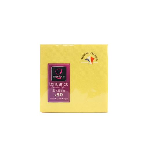 50 serviettes cocktail 25*25 - jaune
