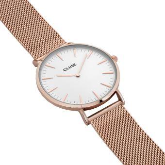 b02d1a339ba40 CLUSE La Boheme Mesh Rose Gold White 38mm montre CL18112 - Montre Femme -  Achat   prix