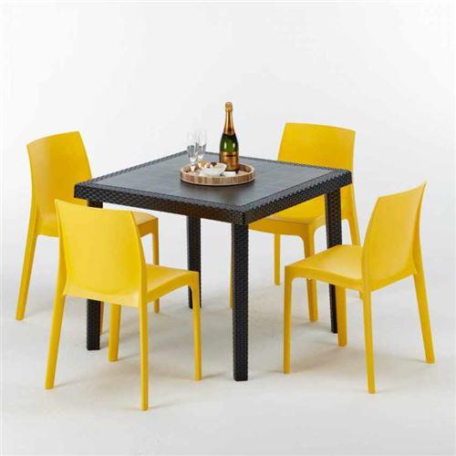 Table Carrée Noire 90x90cm Avec 4 Chaises Colorées Grand Soleil Set Extérieur Bar Café ROME PASSION, Couleur: Jaune