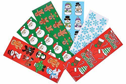 Assortiment d'autocollants de vacances de Noël ~ Près de 1000 autocollants ~ Bonhomme en pain d'épice, Père Noël, Flocon de neige, Pingouin, Arbre de Noël, Canne en sucre, Bonhomme de neige, Bas de Noël et plus.
