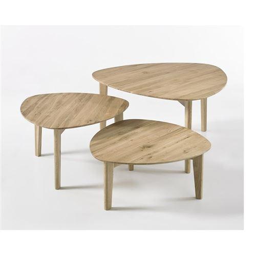 Set de 3 tables basses COLMAR en chêne noueux massif