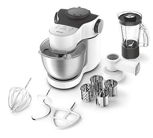 Krups ka2531 robot de cuisine master perfect plus, 4 l, 700 w, avec accessoires, acier inoxydable blanc