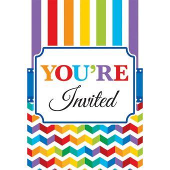 20 Cartes D Invitation Anniversaire Raye Article De Fete Achat Prix Fnac