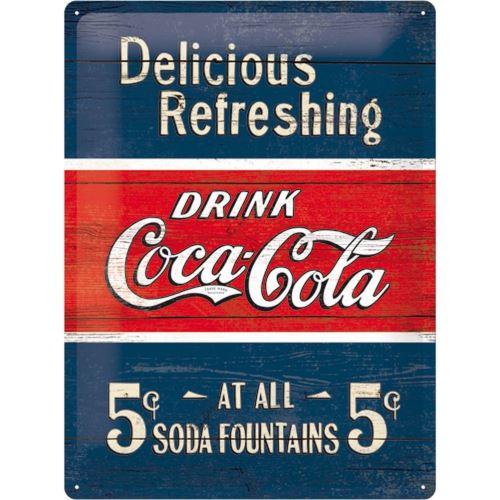 Plaque métallique Coca-cola Delicious Refreshing