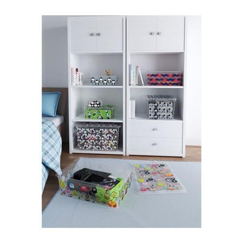abm boîte de rangement c box style - 50 l - décor animaux - noir, rose et gris