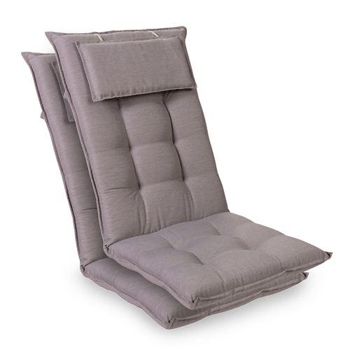 Coussin de chaise de jardin -Blumfeldt Sylt -120 x 50 x9 cm -2 pièces -Gris platine