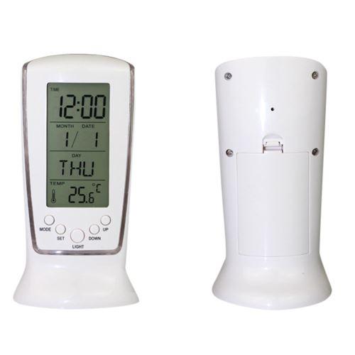 Nouveau Tableau D'Affichage Led Rétro-Éclairage Numérique Réveil Snooze Thermomètre Calendrier Blanc PL493