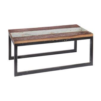 Table de salon de jardin rectangulaire 90cm en teck et fer CIUDAD