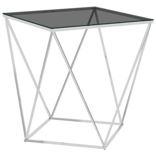 Table basse en Acier inoxydable 50x50x55cm Argenté et noir